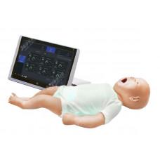 Манекен новорожденного для сердечно-лёгочной реанимации с планшетным компьютером