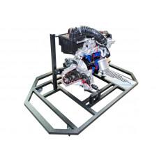 Двигатель переднеприводного автомобиля в сборе со сцеплением и коробкой передач с электромеханическим приводом (агрегаты в разрезе)